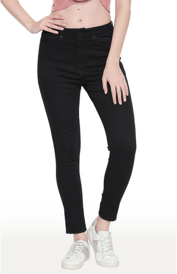 Black Solid Skinny Ankle Length Fit Jeans