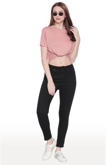 Black Solid Skinny Ankle Length Fit Jeans