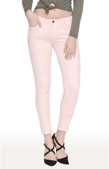 Dusty Pink Solid Super Skinny Ankle Length Fit Jeans