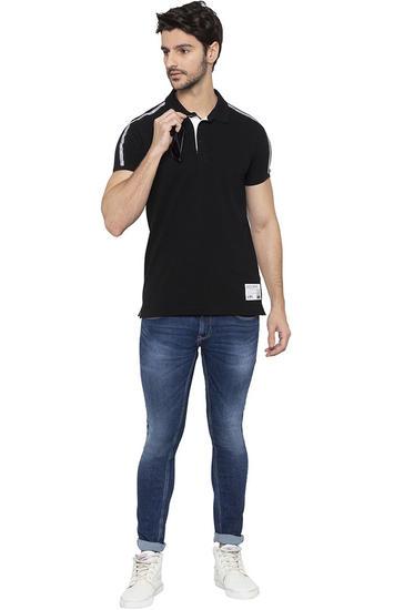 Spykar Black Solid Polo T-Shirt