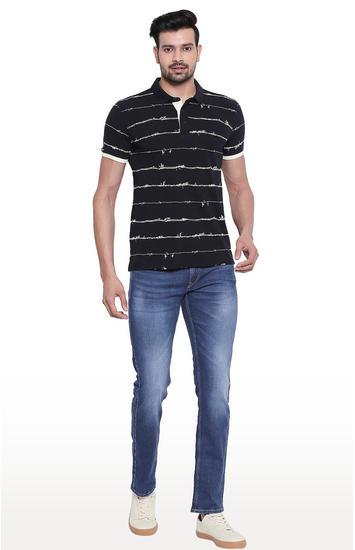 Mid Blue Mid-Rise Waist Slim Fit Jeans