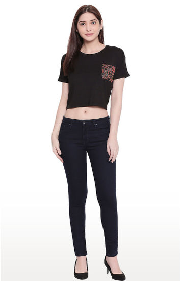 Raw Blue Low-rise Waist Super Skinny Fit Jeans