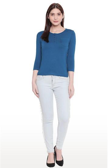 Ice Blue Frayed Side Band Super Skinny Fit Jeans