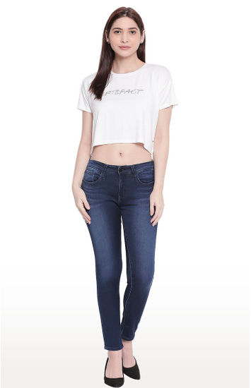 Ivory Printed Crop Fit T-shirt