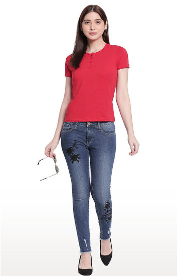 Red Solid Henley Neck Top