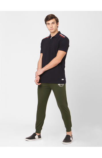 Spykar Green Cotton Relax Fit KNIT TRACK PANTS