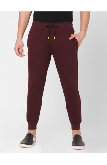 Spykar Red Cotton Relax Fit KNIT TRACK PANTS