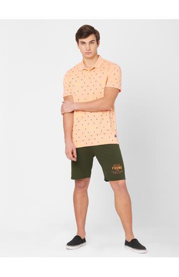 Spykar Green Cotton Relax Fit Shorts