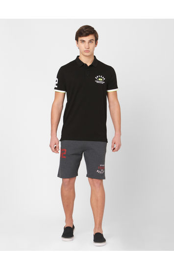 Spykar Grey Cotton Relax Fit Shorts