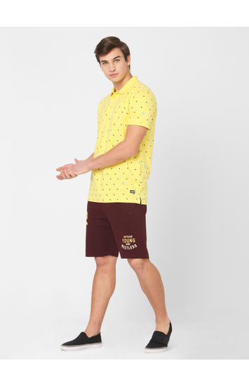 Spykar Red Cotton Relax Fit Shorts