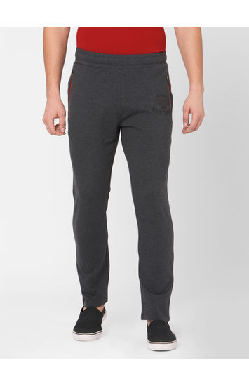 Spykar Grey Cotton Relax Fit KNIT TRACK PANTS