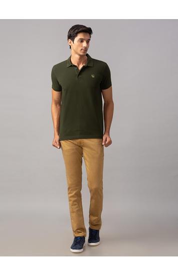 Spykar Green Cotton Slim Fit T-Shirts (Slim)