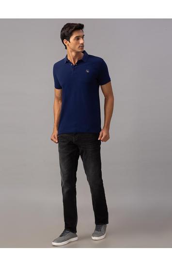 Spykar Blue Cotton Slim Fit T-Shirts (Slim)