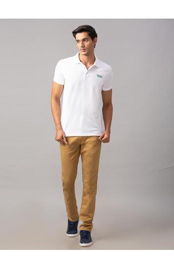 Spykar White Cotton Slim Fit T-Shirts (Slim)