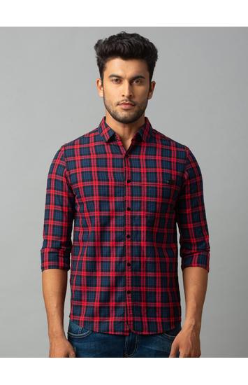 Spykar Pink Cotton Slim Fit Shirts (Slim)
