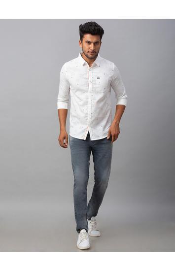 Spykar White Cotton Slim Fit Shirts (Slim)