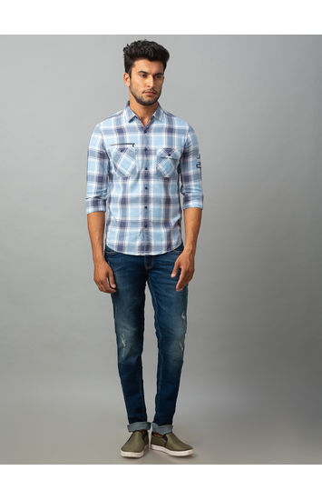 Spykar Blue Cotton Slim Fit Shirts (Slim)