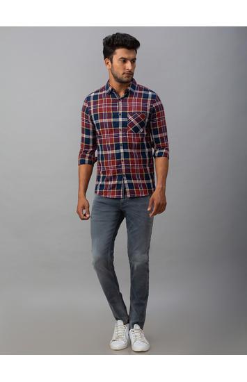 Spykar Red Cotton Slim Fit Shirts (Slim)
