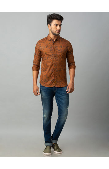 Spykar Brown Cotton Slim Fit Shirts (Slim)