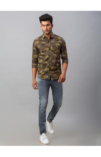 Spykar Green Cotton Slim Fit Shirts (Slim)