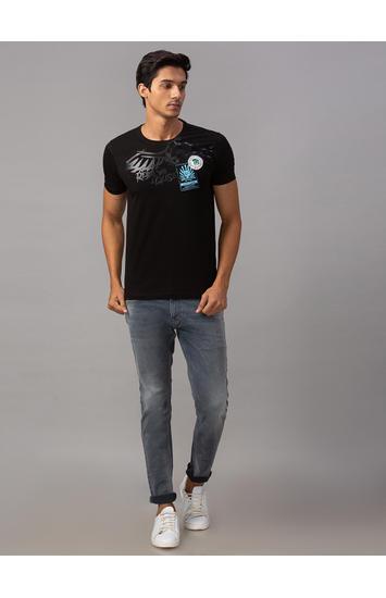 Spykar Black Cotton Slim Fit T-Shirts (Slim)