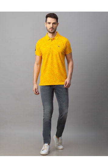 Spykar Yellow Cotton Slim Fit T-Shirts (Slim)