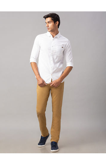 Spykar White Cotton Slim Fit Shirts (Slim)