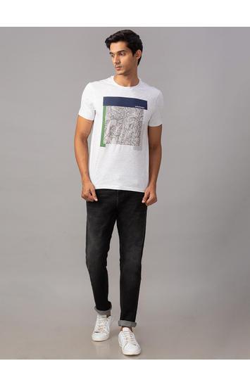 Spykar Grey Cotton Slim Fit T-Shirts (Slim)