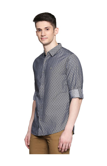 Spykar Grey Cotton Slim Fit Shirts (Slim)