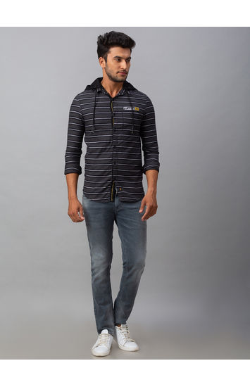Spykar Grey Cotton Slim Fit Shirts (Slim)