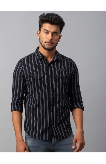 Spykar Black Cotton Slim Fit Shirts (Slim)