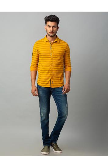 Spykar Yellow Cotton Slim Fit Shirts (Slim)