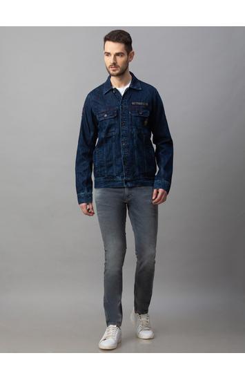 Spykar Blue Cotton Regular Fit Jackets (Regular)