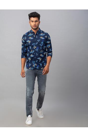 Spykar Blue Cotton Slim Fit Shirts (Slim)
