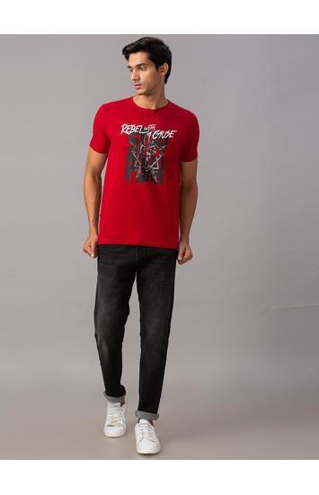 Spykar Red Cotton Slim Fit T-Shirts (Slim)