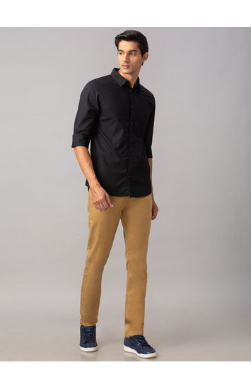 Spykar Black Cotton Slim Fit Shirts (Slim)