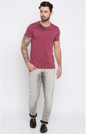 Dull Red Printed T-Shirt