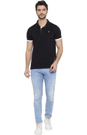 Black Solid Polo T-Shirt