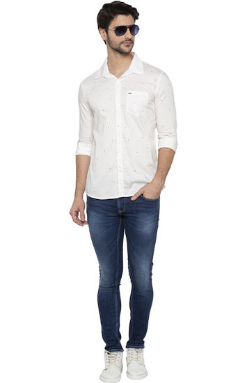 Ecru Printed Casual Shirt