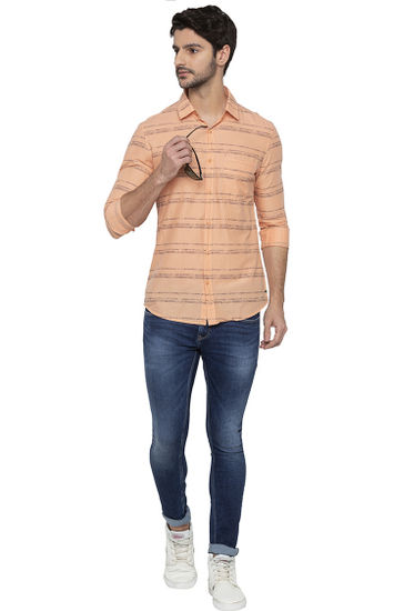 Orange Striped Casual Shirt