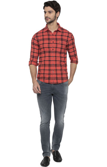 Pink Checked Slim Fit Casual Shirt