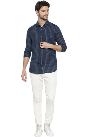 Navy Striped Slim Fit Casual Shirt