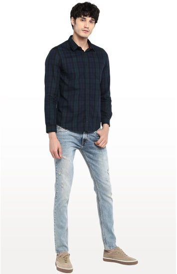 Blue and Olive Checked Regular Fit Casual Shirt