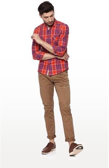 Orange Checked Regular Fit Casual Shirt