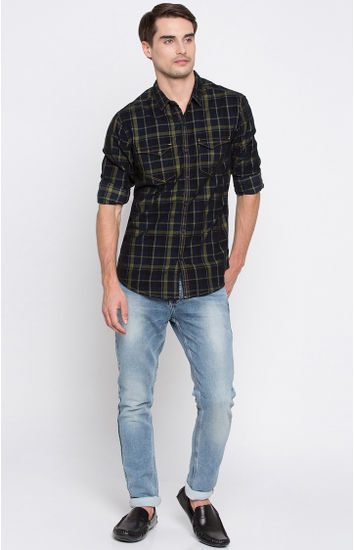 Green and Navy Checked Regular Fit Casual Shirt
