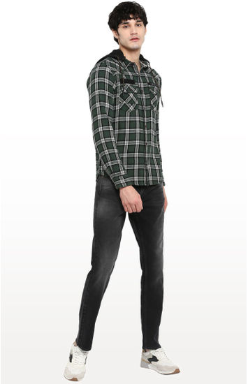 Olive Checked Regular Fit Casual Shirt