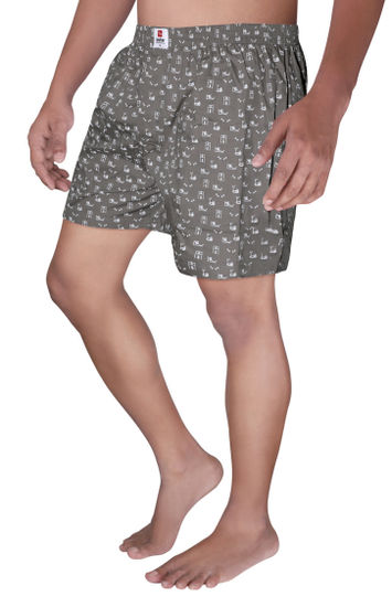 Dark Grey Printed Boxers