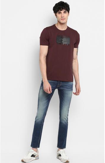 Wine Printed Slim Fit T-Shirts