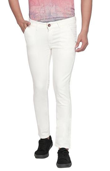 Ecru Solid Skinny Fit Jeans