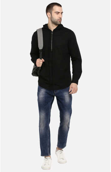 Black Solid Slim Fit Hoodies
